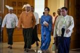 Aung San Suu Kyi, U Win Myint and U Aye Thar Aung enter Parliament in March30, 2016. (Photo - JPaing/ The Irrawaddy)