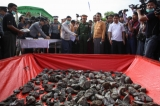 Rangoon Government destroyed over US$19.7 million worth seized narcotic drugs to mark Intl Day against Drug Abuse and Illicit Trafficking on June 26, 2016.(Photos: Hein Htet / The Irrawaddy)