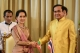 Myanmar's foreign minister and state counsellor Aung San Suu Kyi (L) shakes hands with Thailand's Prime Minister Prayuth Chan-Ocha (R)  a MOU ceremony at government house  in Bangkok, Thailand, June 24, 2016. (Photo: JPaing / The Irrawaddy)