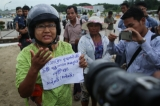 Ma Ba Tha supporters protesting the Rangoon Chief Minister U Phyo Min Thein comeback to Rangoon International Airport on July 6, 2016. (Photo: Hein Htet / The Irrawaddy)