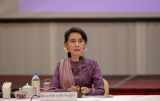 State Counselor Aung San Suu Kyi held a meeting with peace negotiation teams in Naypyidaw on July 5,2016 . (Photo: Htet Naing Zaw / The Irrawaddy)
