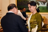 State Counselor Aung San Suu Kyi held talks with Thailand's Deputy Prime Minister Tanasak Patimapragorn and Minister of Defense General Prawit Wongsuwon in Naypyidaw, on June 29, 2016. ( Photo - Htet Naing Zaw / The Irrawaddy )
