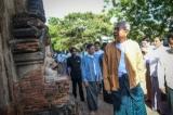Myanmar President Htin Kyaw inspects  the damaged Satanar temple in Bagan, Myanmar, 25 August 2016. ( Photo - JPaing / The Irrawaddy )