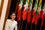 Kofi Annan and Daw Aung San Suu Kyi are pictured before the start of the meeting of the Arakan State Advisory Commission on Monday at the National Reconciliation and Peace Center in Rangoon