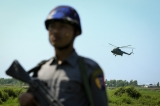 A Myanmar air force helicopter arrives at Maungdaw township in Rakhine State.