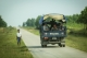 Myanmar police force travel in trucks through Maungdaw, located in Rakhine State, on Oct 17, 2016.