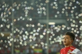 Members of Myanmar Football Team sing national anthem before the match against Vietnam team for Suzuki Cup starts on November 20, 2016. Hein Htet/ The Irrawaddy