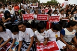 A campaign against child sex abuse cases, demanding harsher penalties for the offenders and protection of children. Yangon, 27 November, 2016.