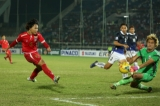 Cambodia player in action against Myanmar player during the AFF Suzuki Cup Group B soccer match in Thuwanna Football statdium in Yangon, Myanmar, November 23, 2016. Hein Htet/The Irrawaddy