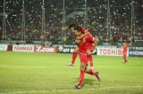 Myanmar football team celebrates after scoring against Malaysia during the AFF Suzuki Cup Group B soccer match in Thuwanna Football statdium in Yangon on November 26, 2016. Hein Htet/The Irrawaddy