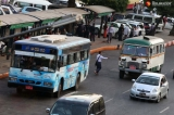 Buses registered under the Rangoon Division Motor Vehicles Supervisory Committee--known as Ma Hta Tha in Burmese-- are seen in downtown Rangoon on January 15, their last day in service after plying through the city for several decades. The regional government will abolish the committee starting from Jan. 16 to implement a new system called the Yangon Bus Service, which will be managed under the Yangon Region Transport Authority.  (Photos: Myo Min Soe & Pyay Kyaw / The Irrawaddy)