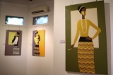 Local artist Ma Charm's first solo exhibition titled Aye Mya ends on Wednesday at Gallery 65 in Rangoon. Her portraits of women from Upper Burma with suntanned skin, wearing Thanakar, Cheik and cotton clothes are in memory of her grandmother Aye Mya. The exhibition opens from 10am to 6pm. (Photos: Chanson/ The Irrawaddy)