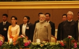 Myanmar President U Htin Kyaw welcomes Indian Prime Minister Narendra Modi with an honor guard and a dinner at the Presidential Residence in Naypyitaw on on Sep 5, 2017. Joining the event were State Counselor Daw Aung San Suu Kyi, Myanmar's Vice Presidents, cabinet members and Indian officials.(Photo - Htet Naing Zaw/Irrawaddy)