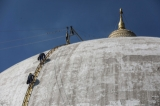 Kaunghmu Daw Pagoda in Sagaing Region is stripped of its gold paint and in the process of being restored to its original white color in January, 2019. ( Zaw Zaw) 30.1.19