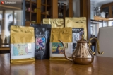 Variety of Sawbwa, start up coffee, coffee packages are seen on the table of Sawbwa coffee headquarter. Sawbwa coffee was launched its business by two british men at early 2017.  Photo - Htet Wai/ Irrawaddy