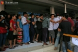 A huge amount of people gather in front of ticket counter at Aung Mingalar Bus Terminal to buy bus tickets in advance of Thingyan holiday,Myanmar water festival on 7,April,2018. Photo-Htet Wai/Irrawaddy