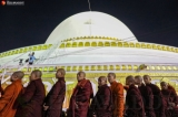 The consecration of Kaunghmudaw Pagoda in Sagaing was held on March 20 along with donation of rice to 1,000 monks to mark the 82nd birthday of Sitagu Sayadaw, and opening ceremony of the world's biggest drum. Zaw Zaw/The Irrawaddy