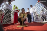 Government delegates from Myanmar and Japan attend to the hospital ground-breaking ceremony,which will be built by the fund of JICA, at the corner of Pyay and Min Ye Kyaw Swa road on April 28, 2019.  Photo - Htet Wai/ Irrawaddy