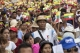 People gathered at Yaykhal Saing bus-stop to march to the Sule pagoda to show their support to the Military during a rally held on May 5, 2019.  Photo - Htet Wai/ Irrawaddy