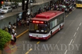 An Airport Shuttle Bus is seen at downtown Yangon on April 16, 2019.  Photo - Htet Wai/ Irrawaddy