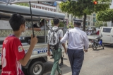 Traffic Polices performed their duty at Sule junction on May 31, 2019.  Photo - Htet Wai/ Irrawaddy