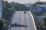 Yangon's empty roads is seen on April 11, 2020 as 2nd day of lockdown, count from 10th April to 19, to halt the spread of the coronavirus.  Photo - Htet Wai/ Irrawaddy
